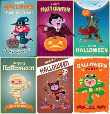 Vintage plakat Halloweenowy projekt z wampirem, mumią, czarownicą, stworem morskim, nietoperzem, duchem, demonem, Jackiem O Lanternem, żniwiarzem, postacią potwora.