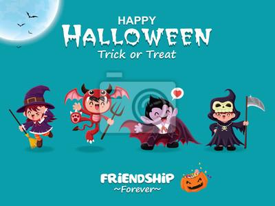 Vintage plakat Halloweenowy projekt z wektorową czarownicą, demonem, wampirem, żniwiarką.