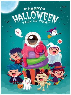 Vintage plakat Halloweenowy projekt z wektorową czarownicą, wampirem, mumią, babeczką i postacią ducha.