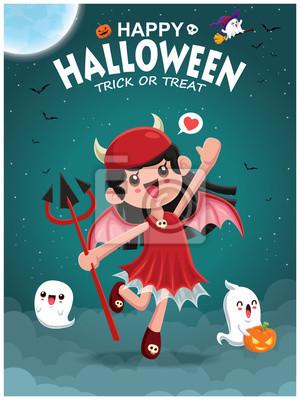 Vintage plakat Halloweenowy projekt z wektorową demoniczną dziewczyną i duchową postacią.