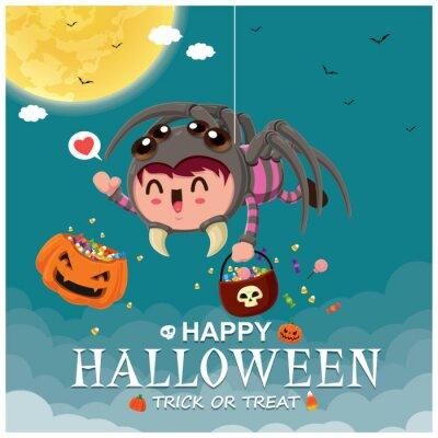 Vintage plakat Halloweenowy projekt z wektorowym demonem pająkiem i postacią ducha.