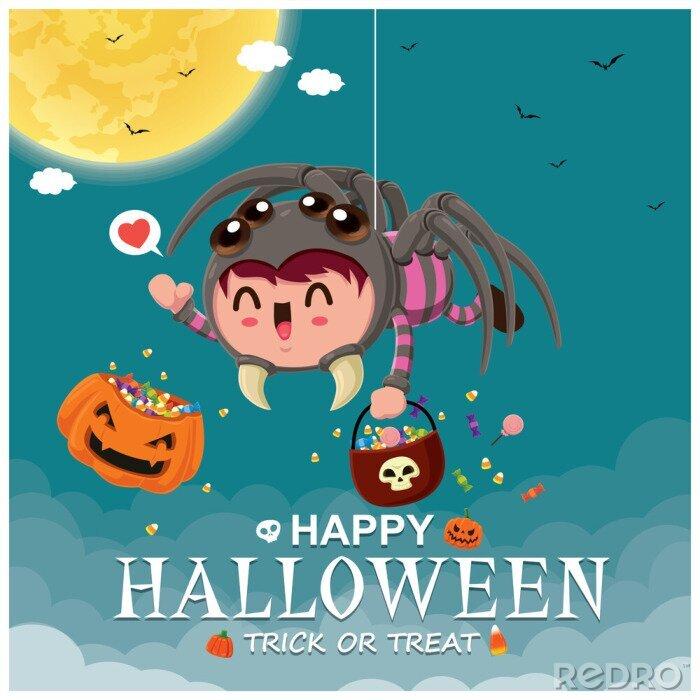 Plakat Vintage plakat Halloweenowy projekt z wektorowym demonem pająkiem i postacią ducha.