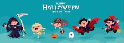Vintage plakat Halloweenowy projekt z wektorowym żniwiarką, czarownicą, demonem, pająkiem, duchem, wampirem, czarownicą, mumią, zombie, postacią potwora.