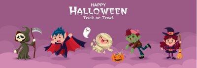 Vintage plakat Halloweenowy projekt z żniwiarką wektorową, czarownicą, demonem, duchem, wampirem, czarownicą, mumią, zombie, postacią potwora.