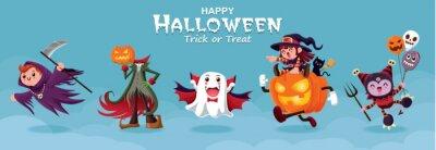 Vintage plakat Halloweenowy projekt z żniwiarką wektorową, jack o lantern, duch, wampir, czarownica, postać potwora.