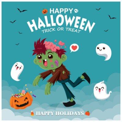 Vintage plakat Halloweenowy projekt z zombie i duch postaci wektorowej.