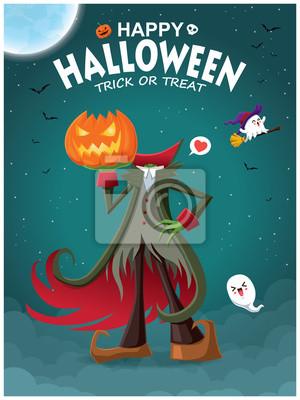 Vintage plakat Halloweenowy z demonem i postacią wektorową.