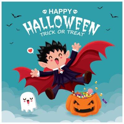 Vintage plakat Halloweenowy z wampirem i postacią wektorową.