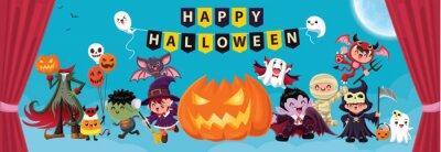 Vintage plakat Halloweenowy z wampirem, mumią, czarownicą, zombie, nietoperzem, duchem, demonem, Jack O Lantern, żniwiarką, nietoperzem, postacią potwora.