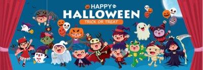 Vintage plakat Halloweenowy z wampirem, mumią, czarownicą, zombie, nietoperzem, duchem, demonem, Jack O Lantern, żniwiarzem, pająkiem, stworem morskim, postacią potwora.