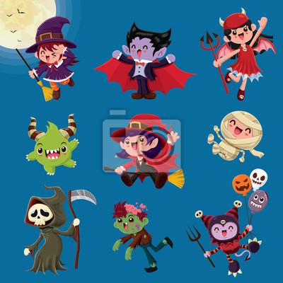 Vintage plakat Halloweenowy z wampirem, mumią, czarownicą, zombie, nietoperzem, duchem, demonem, Jackiem O Lanternem, żniwiarzem, postacią potwora.