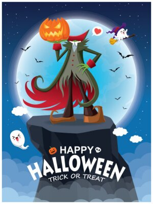 Vintage plakat Halloweenowy z wektorem Jack O Lantern i duch, postać czarownicy.