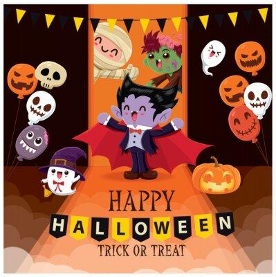 Vintage plakat Halloweenowy z wektorową czarownicą, wampirem, zombie, mumią, duchem, demonem, Jackiem O Lanternem, zombie, balonem, postacią potwora.