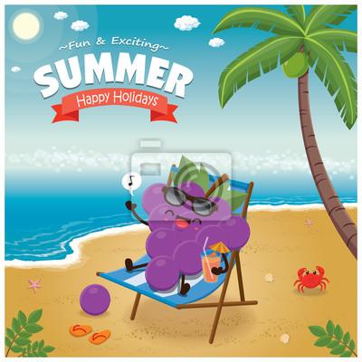 Vintage plakat lato z charakter winogron, leżaków, palmy.