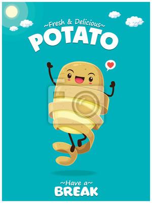 Vintage plakat lato z charakterem ziemniaków.