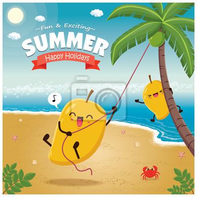 Vintage plakat lato z mango znaków, palmy.