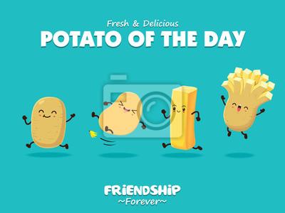 Vintage plakat lato z ziemniaków i frytek postaci.
