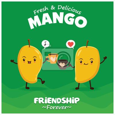 Vintage plakat mango plakat z mango wektor charakter.