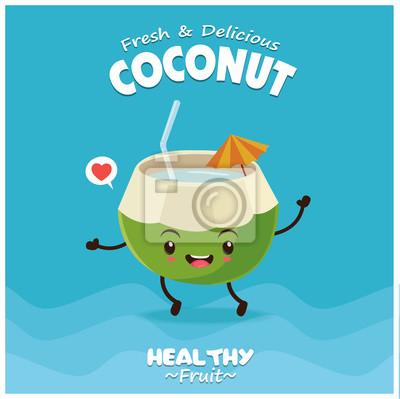 Vintage plakat owoców o charakterze kokosowego wektora.