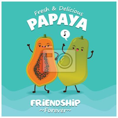 Vintage plakat owoców o wektorowym charakterze papai.