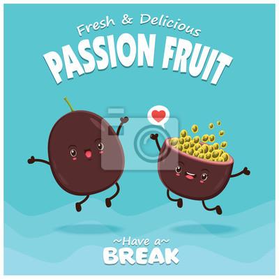 Vintage plakat owoców o wektorowym charakterze pasji owoców.