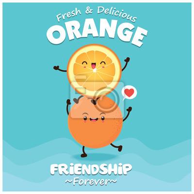 Vintage plakat owoców o wektorowym pomarańczowym charakterze.