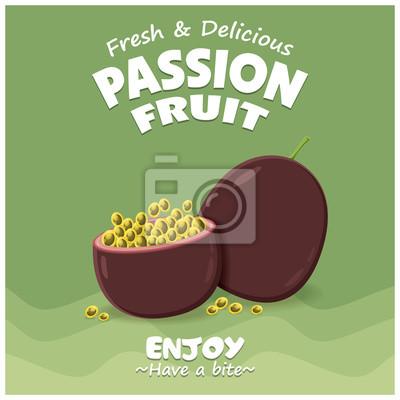 Vintage plakat owoców owocowych z owocami pasji wektorowych.