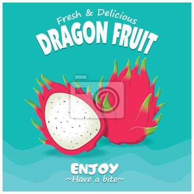 Vintage plakat owoców owocowych z owocami smoka wektora.