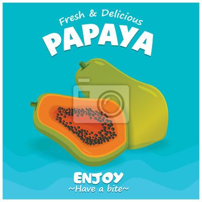 Vintage plakat owoców plasterka z owocami papaja.
