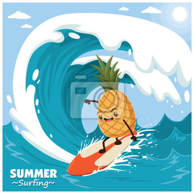 Vintage plakat owoców plasterka z surferem ananasów wektora.