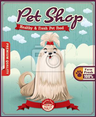 Vintage plakat pet shop projekt
