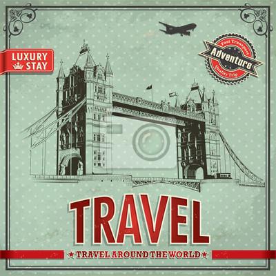 Plakat Vintage plakat podróż londyn wakacje