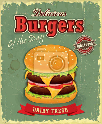 Vintage plakat projekt burger