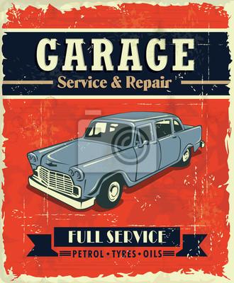 Vintage plakat projekt garażu