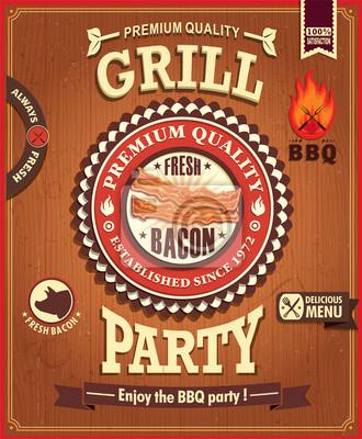 Vintage plakat projekt grill boczek