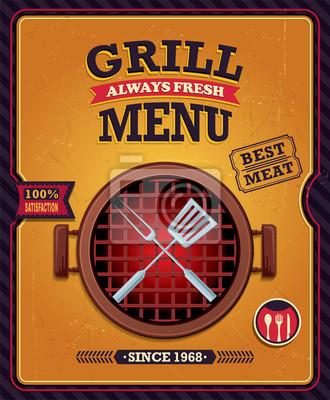 Vintage plakat projekt grill menu