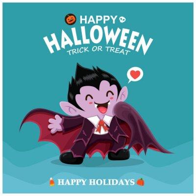 Vintage plakat projekt Halloween z wampirem wektor znaków.