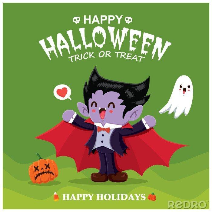 Plakat Vintage plakat projekt Halloween z wampirem wektor znaków.