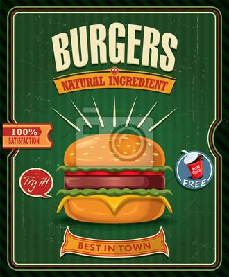 Vintage plakat projekt hamburgery