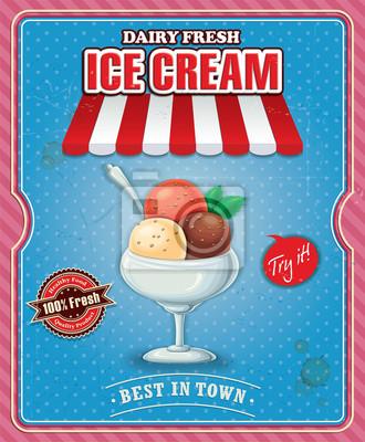 Vintage plakat projekt lodów