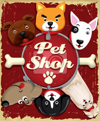 Vintage plakat projekt Pet Shop