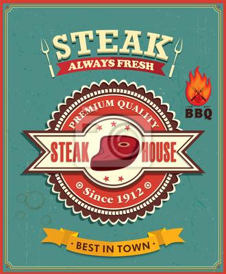 Vintage plakat projekt Steak House