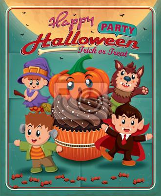 Vintage plakat projekt withcupcake Halloween, dzieci w strojach
