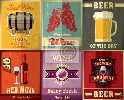 Vintage plakat wina i piwa scenografia