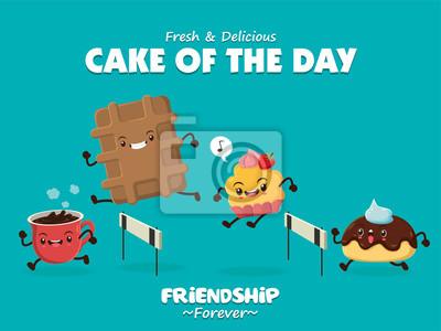 Vintage plakat? Ywno? Ci z kawy wektor, cupcake, ciasteczka charakter.