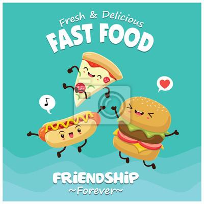 Vintage plakat? Ywno? Ci z pizza, hamburger, hot dog character.