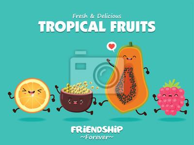 Vintage plakat? Ywno? Ci z wektora pomara? Czowy, owoce passion, papaja, charakter berry.