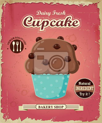 Plakat Vintage plakat z Cupcake wzór wektor cupcake.