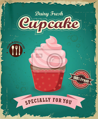Vintage plakat z Cupcake wzór wektor cupcake.
