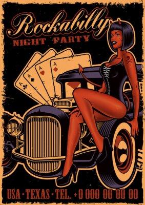 Plakat Vintage plakat z diabłem dziewczyna na klasyczny samochód